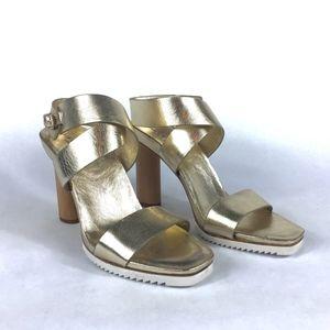 Halston Heritage | Metallic | Wooden Heel Sandal